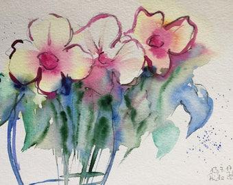 Original watercolor watercolor painting flowers flowers Watercolor Flower Bouquet