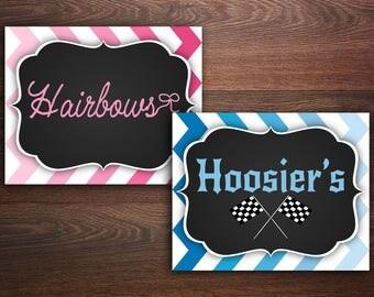 Hoosiers or Hairbows, Gender Reveal Sign, Boy or girl, He or She, Digital Download, chalkboard invitation, Racing Gender Reveal Party