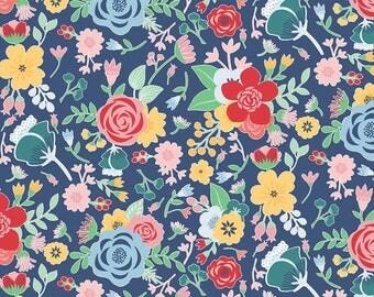 Riley Blake - Midnight Blooms - Midnight Main Navy by Shari Butler - 100% Cotton