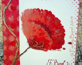 POPPY V - 20 x 20 abstract painting poppies modern Semi
