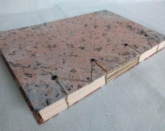 Pastel Speckled Copper Coral Handbound Hardcover Coptic Journal Notebook Sketchbook - vellum writing paper