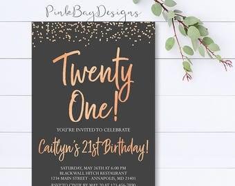Rose Gold Invitation Etsy - 21st birthday invitations gold coast
