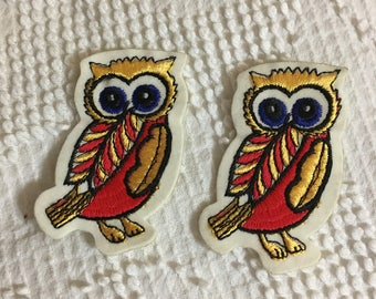 WIDE Eyed OWL PATCH Pair Vintage Felt Stitched Items Exc Diecut