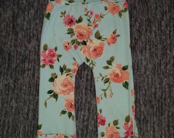 Beautiful buttery soft girls floral Maxaloones grow with me pants 6m-3t 6m 12m 18m 24m 2t 3t