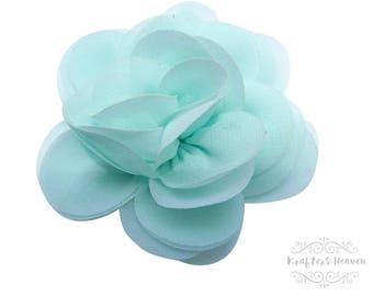 Set of 2 Aqua Chiffon Flower~Weddings~Flowers~DIY Supplies~DIY Headband~Vintage Flower~Craft Supplies & Tools~Craft Supplies~Wedding Flower~