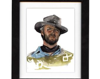 art, clint eastwood, art print, print, ranch, cowboy art, cowboy, gift, hat, western, decor, wall art, portrait, famous, saltwatercolors