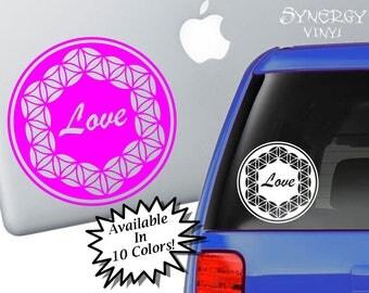 Flower of Life Love Decal | Sacred Geometry Sticker | Spiritual Decal | Laptop Sticker | Car Sticker | Window Sticker