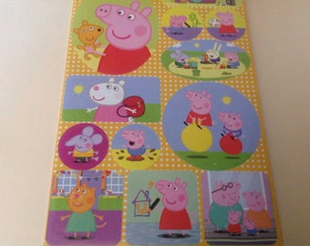 PEPPA PIG & Friends Sticker set of aprox 113 Different Sized stickers for Party Crafts, Free Shipping