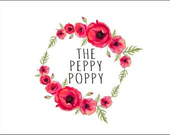 Premade Logo Design, Florist Logo, Logo Design, Floral Logo, Poppy Logo, Floral Wreath Logo