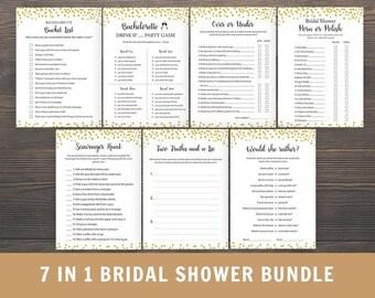 Bachelorette Party Games, Bridal Shower Games Bundle, 7 in 1 Bachelorette Games, Over or Under, Scavenger Hunt, Bucket List, PKG3