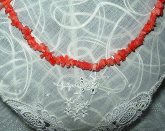 Salmon colour corals necklace, vintage, hand made