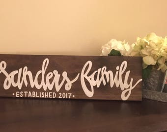 Custom Family Established Wooden Hand Lettered Sign--Color Options Available