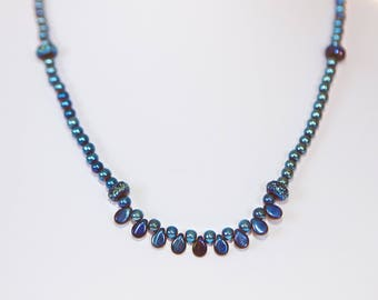 Royal blue beaded necklace and bracelet