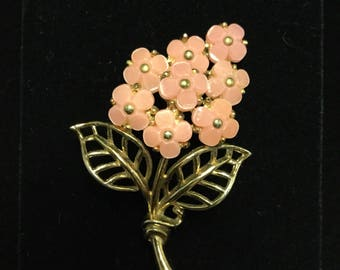 CROWN TRIFARI Fruit Salad Pink Flower Brooch