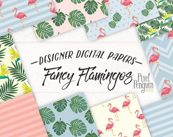 Flamingo Planner Graphic, Flamingo Digital Paper Pack, Tropical Leaf Scrapbooking Paper, Printable, Flamingo Fashion, Watercolor Bird Flower