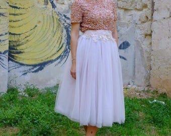 Suit, tulle skirt, sequin top, top Blush Pink, elegant bodice, satin prom dress, evening dress, cocktail dress.