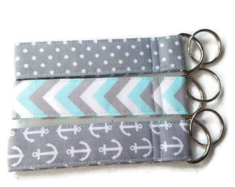 Key Chain in Fun Fabric, Gray with White Anchors, Gray with White Polka Dots, Blue and Gray Chevron, Made to Match your Doggie Accessories