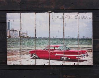 Chevrolet Picture on wood Print transfer Transfer on wood Wood wall art Wood wall decor Wood wall hanging Gift for men Wood gift