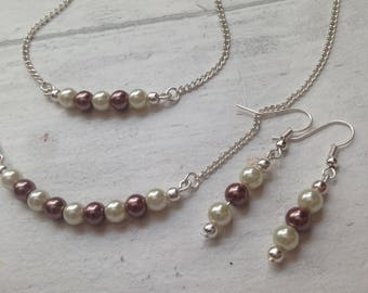 Ivory and Mocha Pearl Matching Set.  Pearl Necklace, Bracelet and Earrings Set. Pearl Bracelet. Pearl Necklace. Pearl Bracelet.