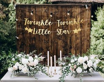 Twinkle twinkle little star banner, twinkle twinkle little star backdrop, gender reveal banner, gender reveal party decorations, twinkle