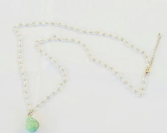 H E L E N A | Gold with Crystal and Green Stone Necklace