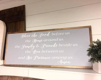 Bless the food | Farmhouse sign | Kitchen decor | Dining Room Decor | Rustic Decor | Home Decor | Wood Sign