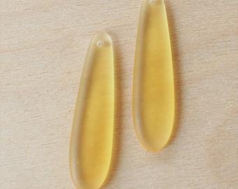 2 pcs Desert Gold Yellow Sea Glass Pendant - Elongated Puffed Teardrop (38x10mm) - Drilled Cultured Seaglass