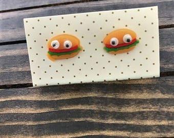 Googly Eye Hamburger Stud Earrings