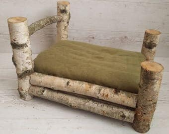 Birch Log Bed, Newborn Prop, Wood bed, Bed for newborn, Photography  Prop