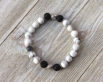 Essential Oil Diffuser Bracelet, Aromatherapy Bracelet, Howlite, Lava Diffuser, Includes 1ml EO Sample Blend, Ships FREE in US