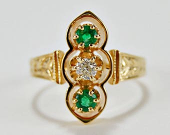 14K Yellow Gold Emerald and Old European Cut Diamond Ring.