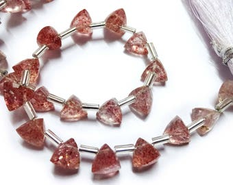 """AAA Grade LEPIDOCROCITE Faceted Briolette Trillion beads,Straight Drilled, Size 6 mm, 6"""" Strand, Faceted Trillions, Super for Jewellery"""