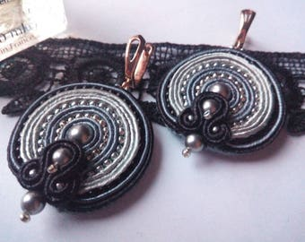 Soutache earrings, grey soutache earrings, soutache jewelry