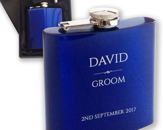 Personalised engraved GROOM hip flask WEDDING gift idea, blue reflective stainless steel presentation box - RET3