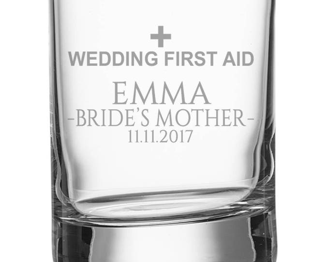 Engraved MOTHER of the BRIDE shot glass, personalised glasse, wedding bomboniere wedding favours, wedding first aid - SH-WFA12