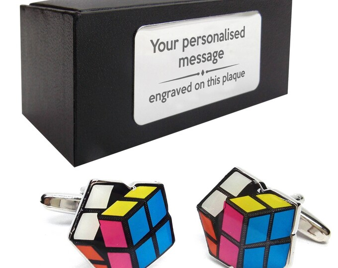 Games puzzle rubiks cube novelty CUFFLINKS gift, presentation box PERSONALISED ENGRAVED plate - 005