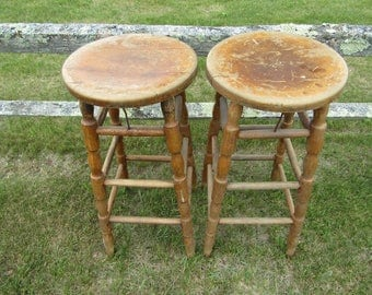 Antique Wooden Industrial Stools