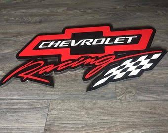 Chevrolet Racing PVC frame logo custom GM Auto Racing Garage decor