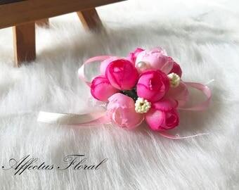 Bridesmaids Wrist Corsage-Pink/Fuschia, Wedding Corsage, Wrist Corsage, Prom Corsage, Simple Corsage