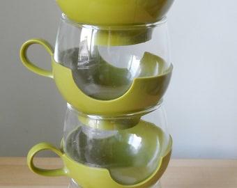 Pyrex Verde drinkups coffee tea cups set of 4