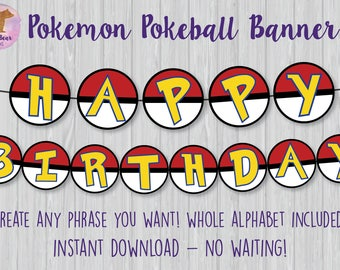 Pokemon Pokeball Banner, Pokemon Bunting Banner, Pokemon Party Decoration, Pokemon Birthday Sign, Pokemon Birthday Banner, Pokeball Banner