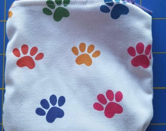 Paw prints mini bag zippered