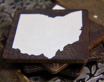 Customizable State Wood Coaster Set