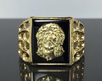 14k gold men's Jesus ring - Men Gold Ring - men's rings - jewelry - Men Onyx Ring - men's jewelry - Men Black Onyx Ring - Jesus rings