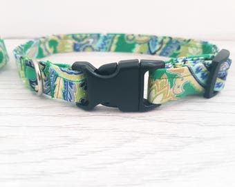 dog collar / green collar/ green dog collar / patterned dog collar / boy dog collar / buckle collar/ plastic buckle