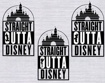 Straight Outta Disney SVG Bundle, Disney Vacation svg, Disney svg files for silhouette or cricut, clipart, dxf files, cuttable design, tink