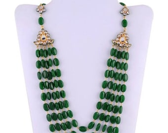 Lovely high quality Emerald beaded necklace set