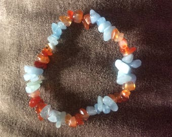 Red Agate and Aquamarine Beaded Stretch Bracelet