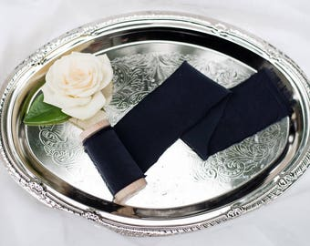 "2"" inch black ribbon on wood spool - Hand Spun Unfinished Raw Edge Ribbon - Bouquet Stationary Invitation Suite"