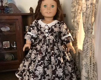 Brown Floral Colonial Gown & Pinner Cap